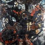 INCUBO - 1971, lacca su lesonite, 69x107 cm.