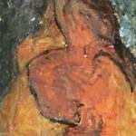 NUDO VERTICALE I - 1968, olio su lesonite, 45x190 cm.