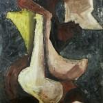 NUDI NELLO SPAZIO - 1966, olio su lesonite, 70x100 cm.