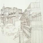 BAGNO ANGIOLINA - ABBAZIA - 1984, disegno, china, 34x49 cm.
