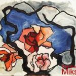 FIORI - 1965, olio su carta, 40x35 cm.