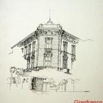 PALAZZO SECESSIONISTA ABBAZIA - 1984, disegno, china, 29x42 cm.