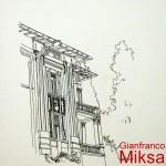 DETTAGLIO DI PALAZZO ABBAZIA - 1984, disegno, china, 29x42 cm.