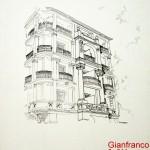 HOTEL MOZART ABBAZIA - 1984, disegno, china, 31 x37 cm