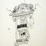 DETTAGLIO DI PALAZZO ABBAZIA - 1984, disegno china, 25x32 cm.